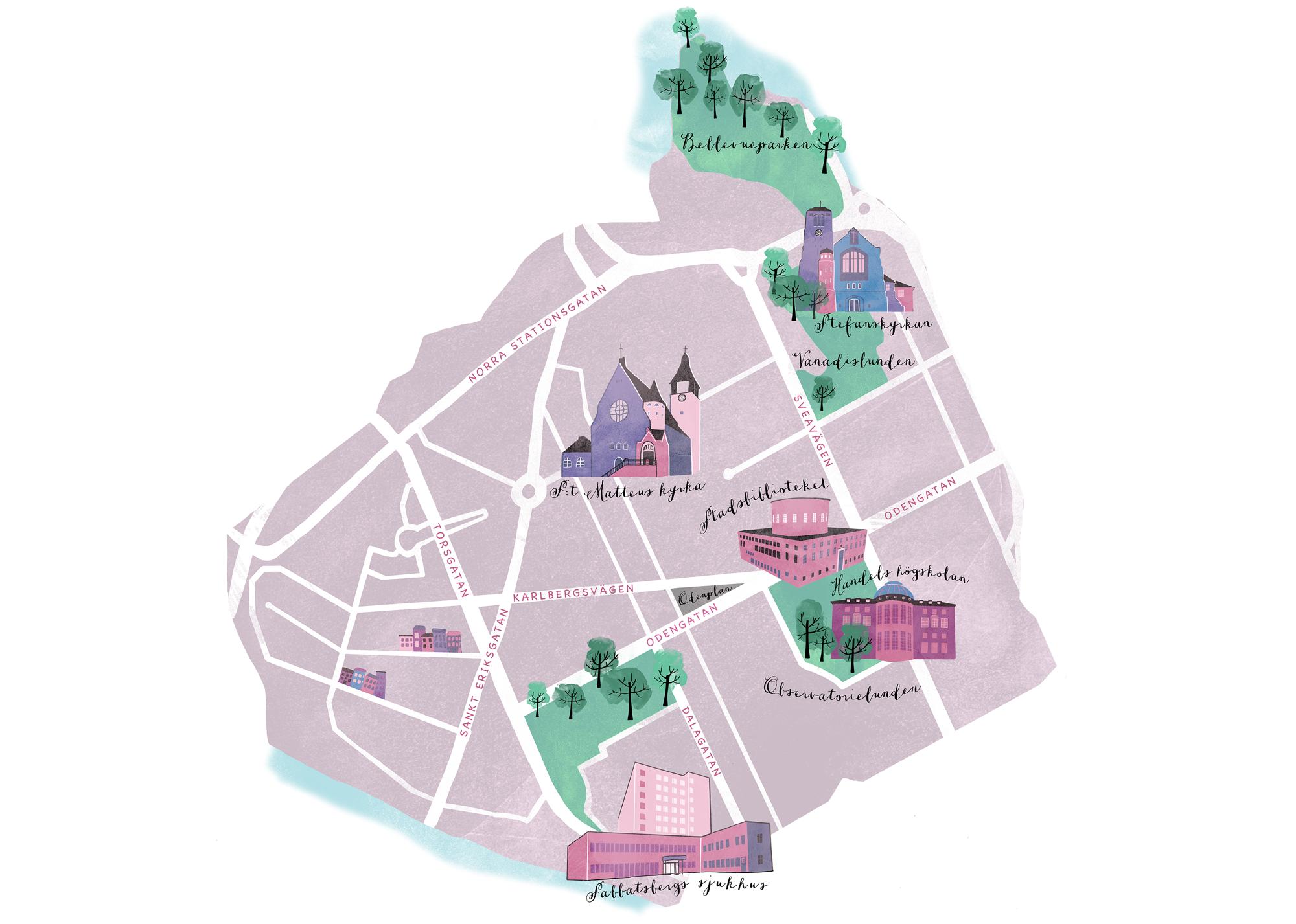 Karta över Vasastan    Digital drawing