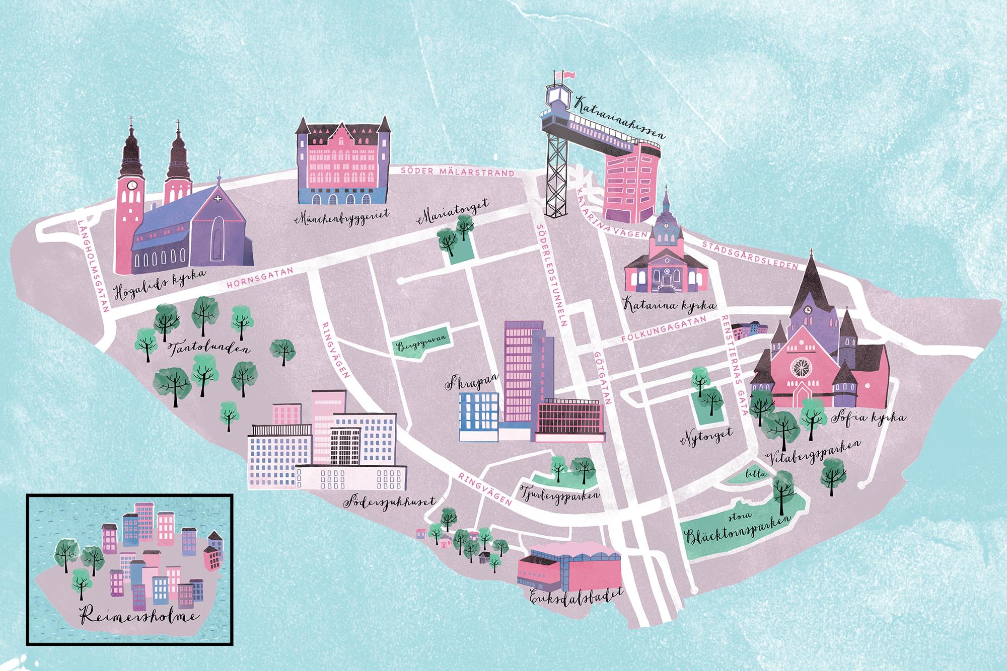 Karta över Södermalm    Digital drawing
