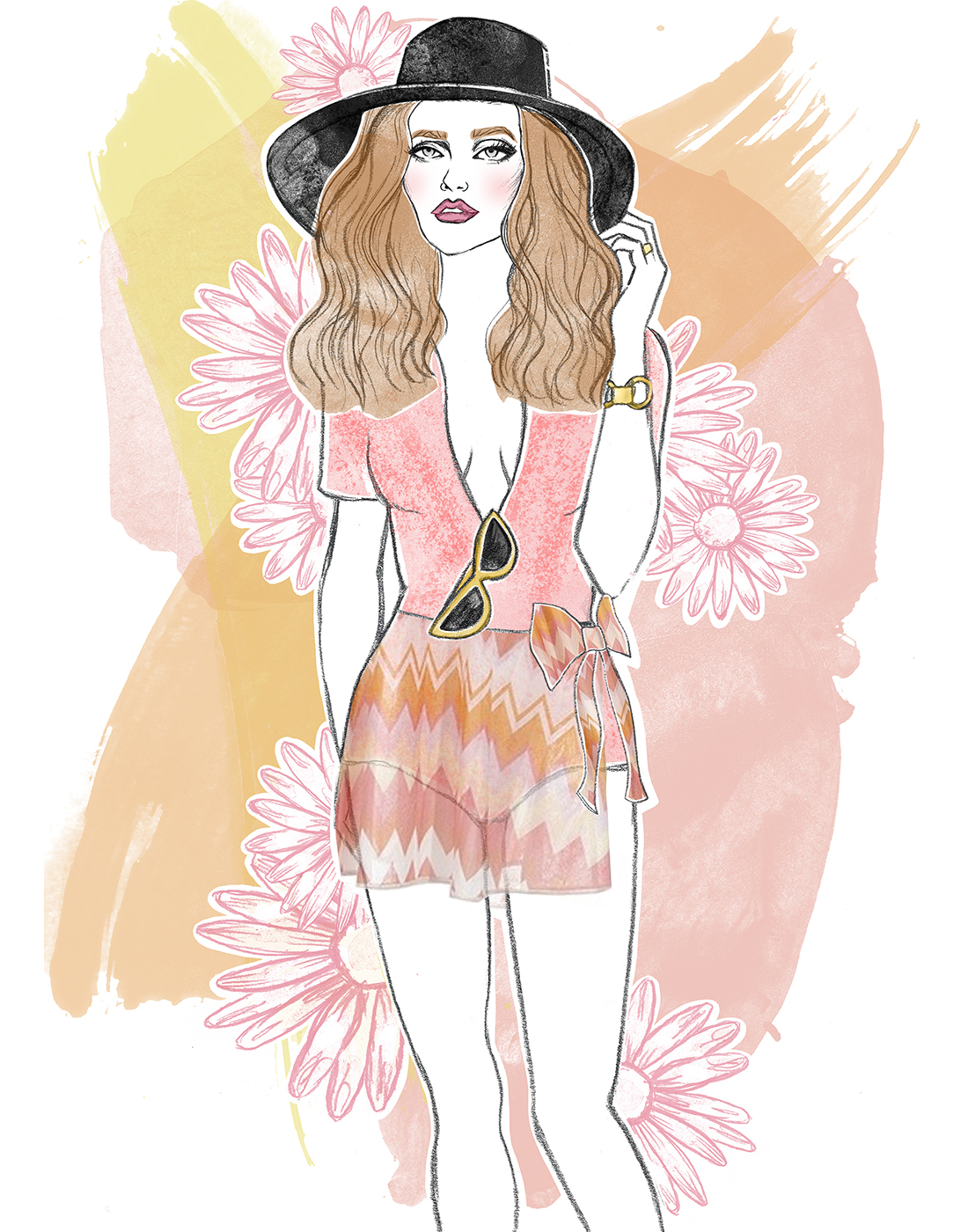 Graphite drawing, digital colouring    Inspired by Georgia May Jagger in Vogue 2011
