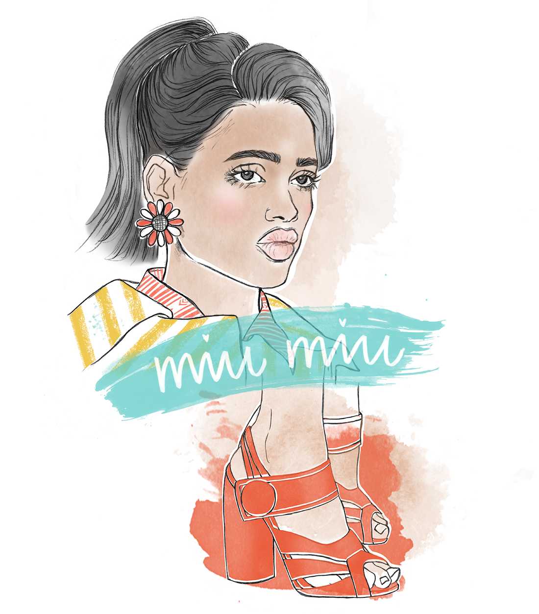 Graphite drawing, digital colouring    Inspired by Miu Miu Fall 2015