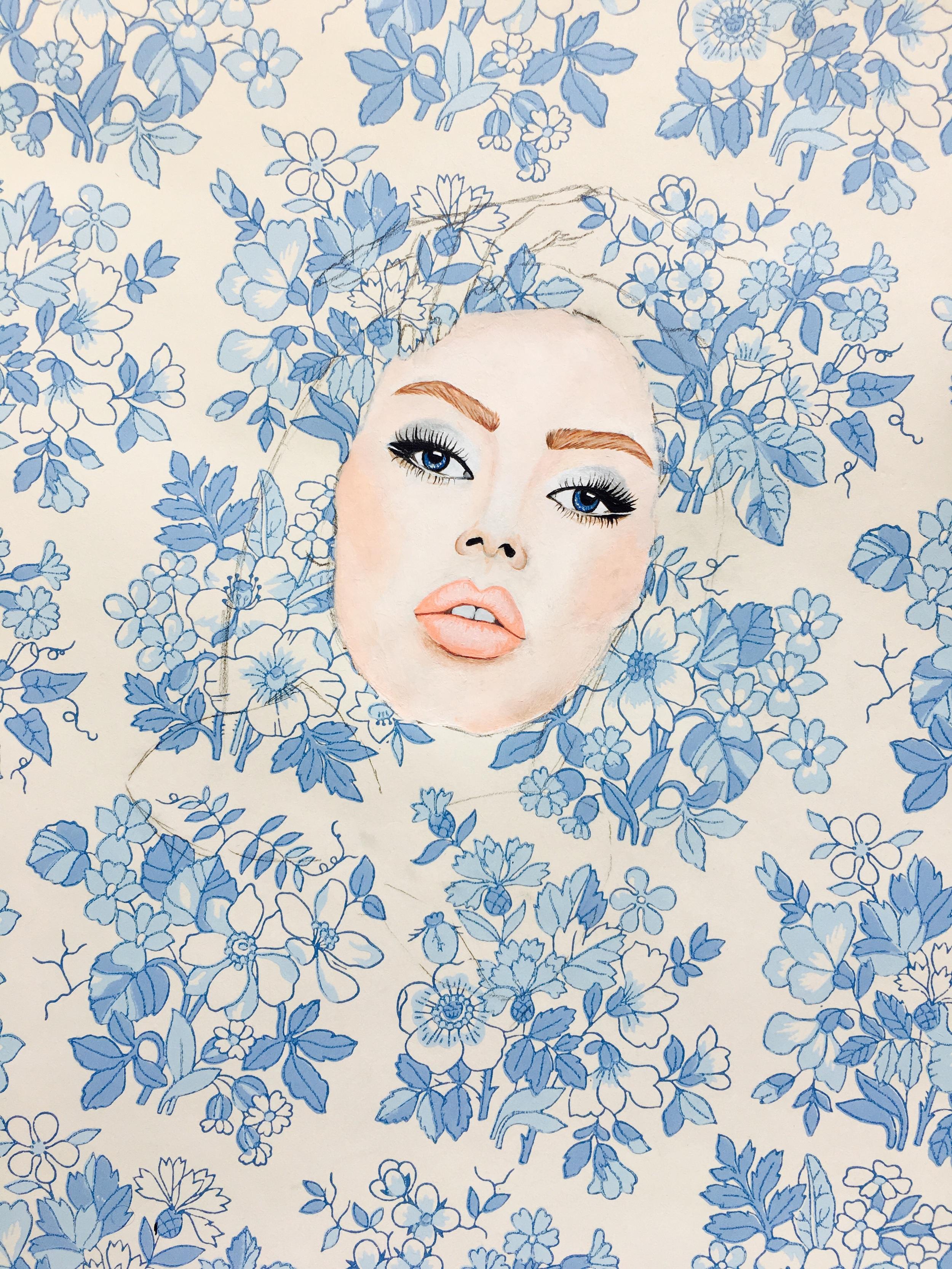 Acrylics on wallpaper