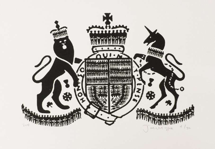 Slave Crest  Date printed 2008 Price £250 Print type Silk Screen Print Number in edition 50 Colour One colour, black Paper type Malago (by Arboreta). Off white. 320g/m2 Paper size SRA2 (640x450mm) Image area 515x340mm Signed By artist in pencil Production information