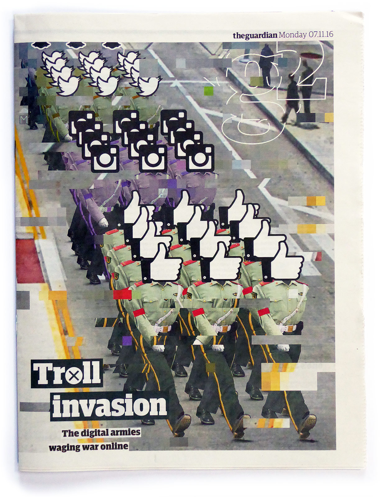 Social Media March  illustration by Joe Magee for The Guardian