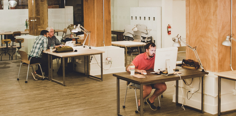 Graphic designer Chris Campbell gets his small chunk on at The Pioneer Collective.