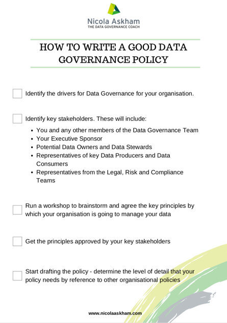 Data Governance Policy Checklist