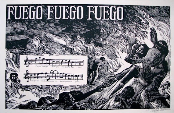 Rafael Tufiño.  Fuego, Fuego, Fuego  Portafolio de Plena, 1953-1954