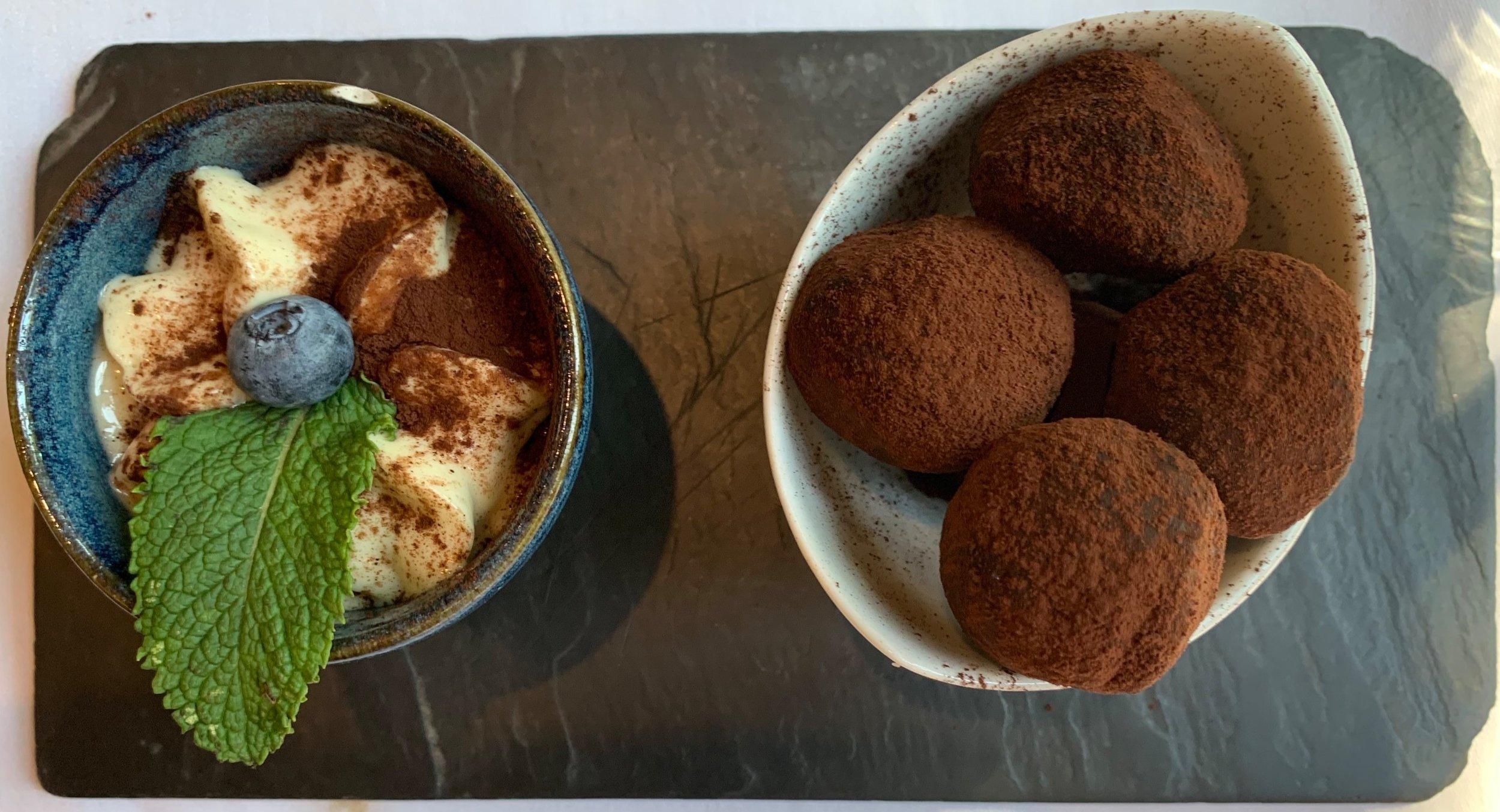 Dessert: truffles with Baileys cream