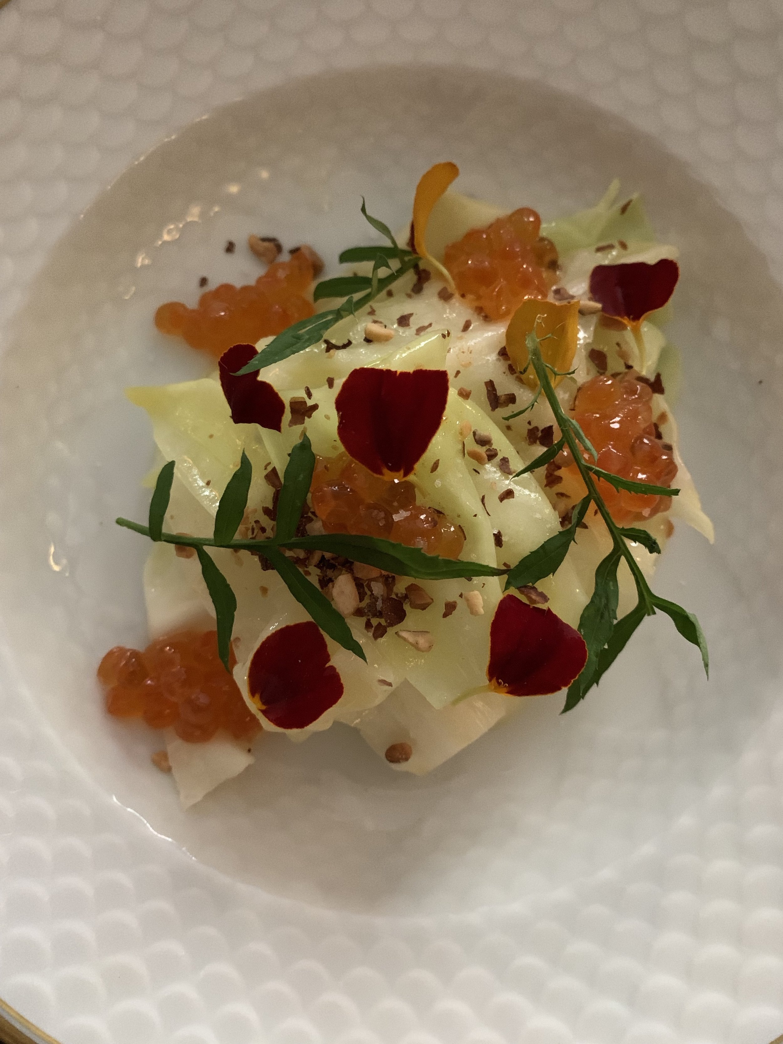 our first course: cabbage with salmon roe