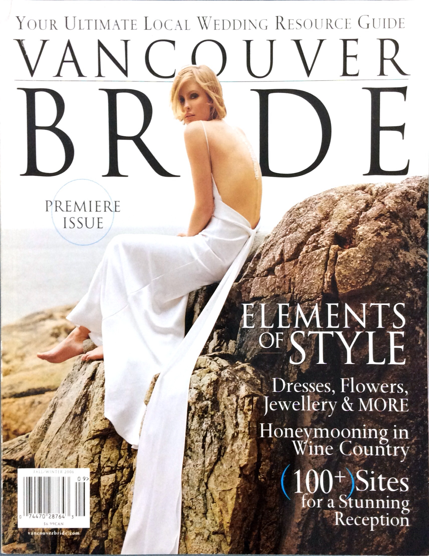 Passion dress on the cover of Vancouver Bride magazine