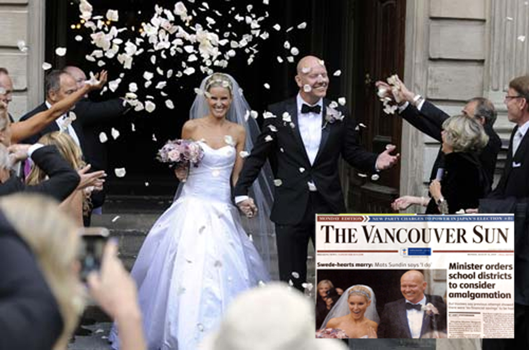 Josephine Sundin in our Victoria gown featured on the front page of the Vancouver Sun
