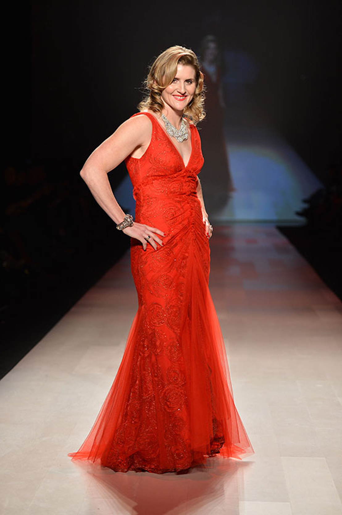 Hayley Wickenheiser in our Eternity gown in red for the Heart and Stroke Foundation Fashion Show