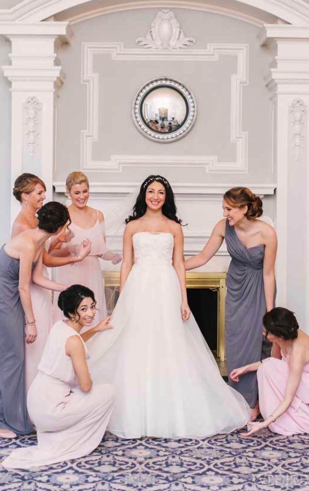 Carolyn gown on lovely bride Sara featured in Wedluxe Magazine
