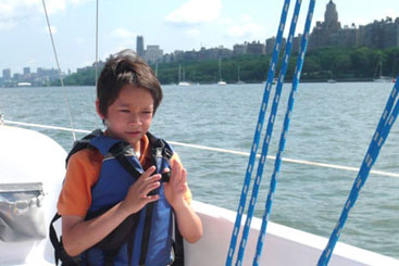 Manhattan youth learning to sail