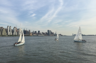 Kids sailing along the Upper West Side