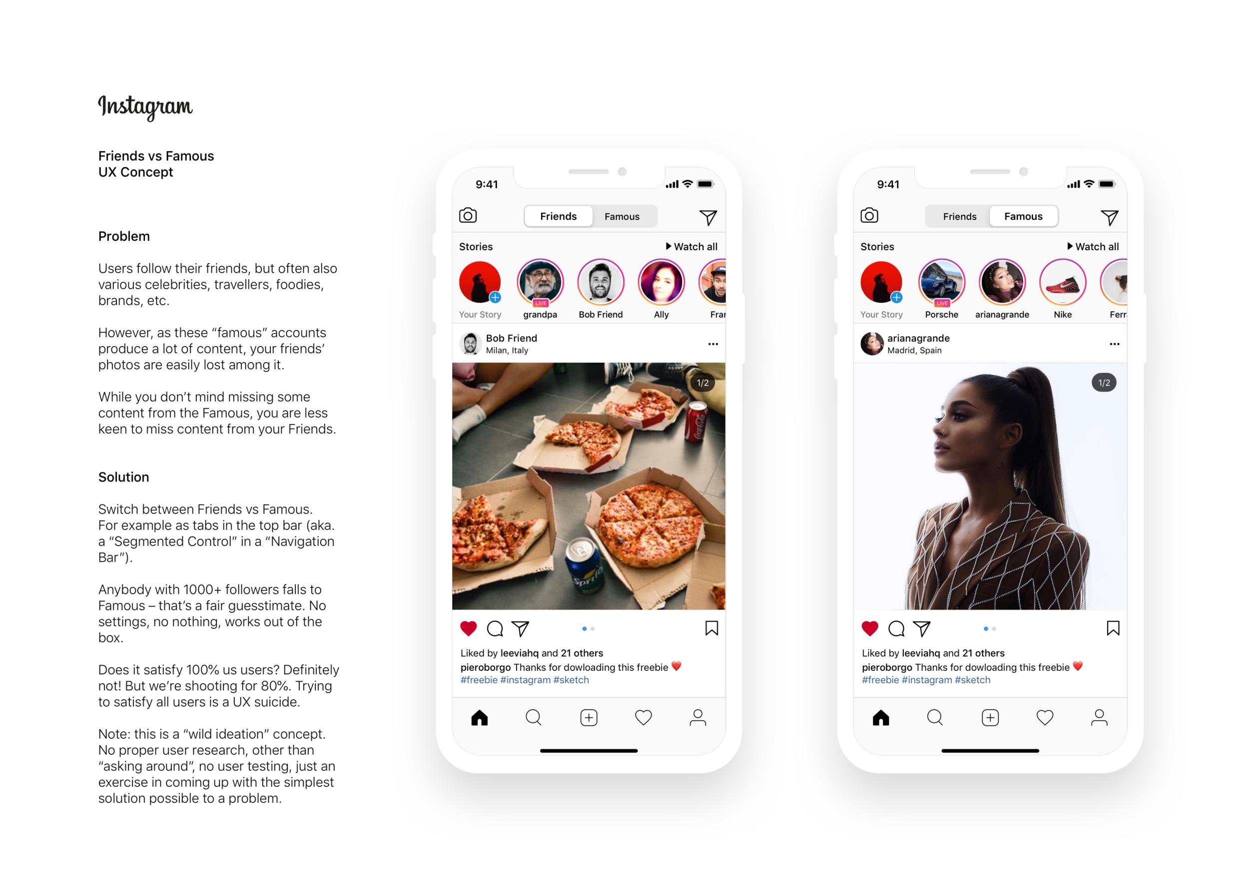 Instagram Friends vs Famous concept