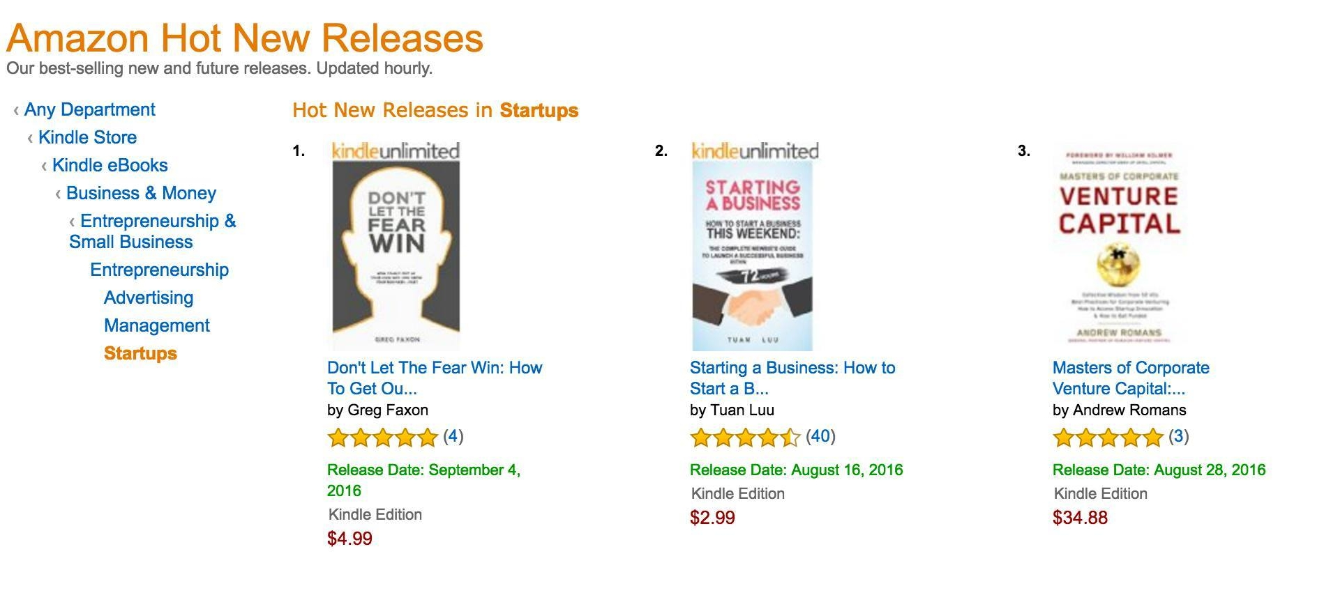 Don't Let The Fear Win  became the #1 Hot Release for Startups on the day it launched. Thank you to everyone who helped my write, launch, and promote the book and to everyone who picked up a copy.