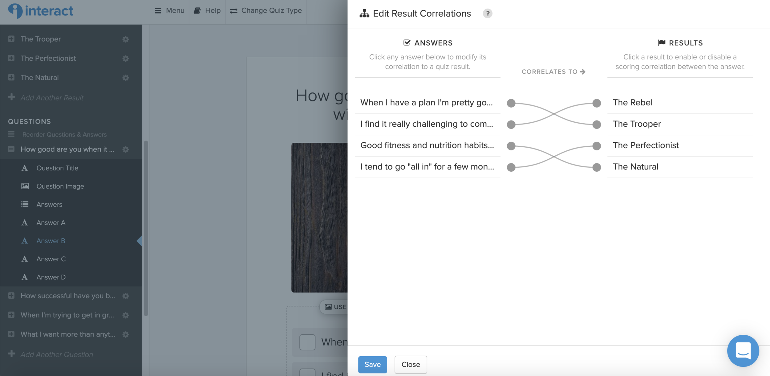 It's super easy to create a quiz using Interact. You just connect each answer to the associated result.