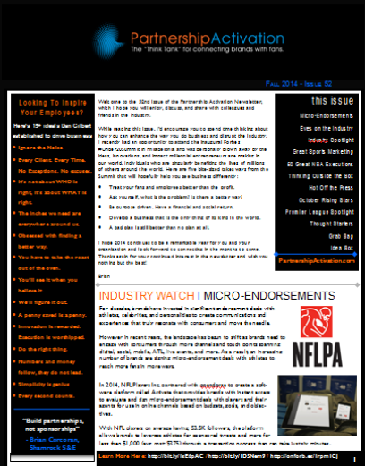Love the Partnership Activation Newsletter?  Check out all the past Newsletters below.