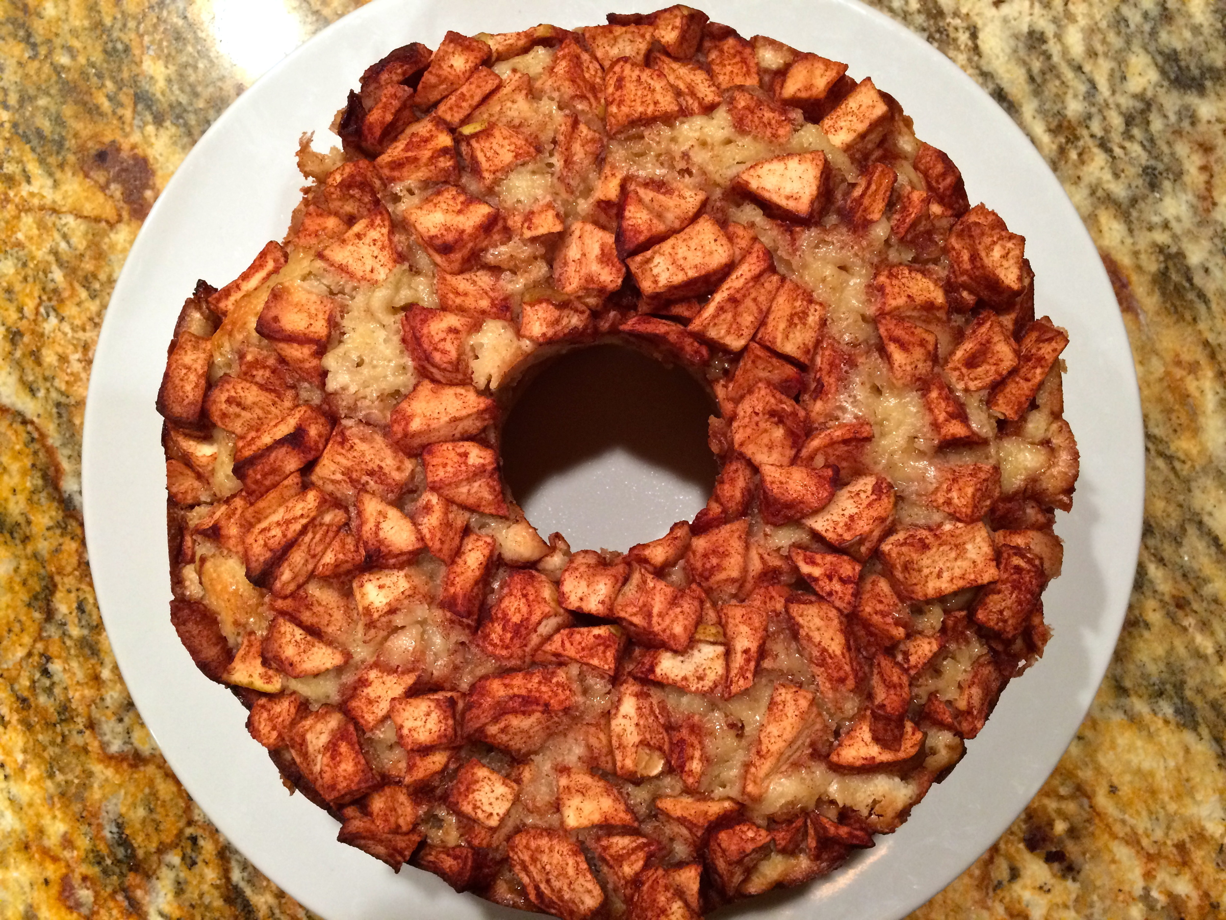 The famous apple cake, the first one of the year! Head over to www.smittenkitchen.com and look for Mom's Apple Cake. My only variation was to add the zest of 1 lemon and 1-2 TBS fresh grated ginger to the batter.