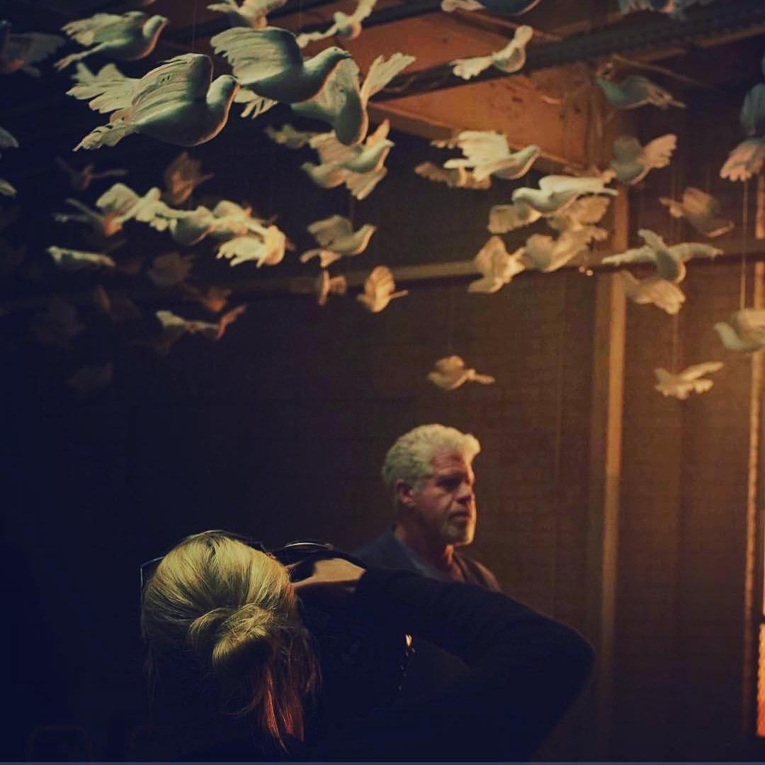 "Nicole on the set of ""HAND OF GOD / SEASON 2"" for Amazon photographing Ron Perlman"
