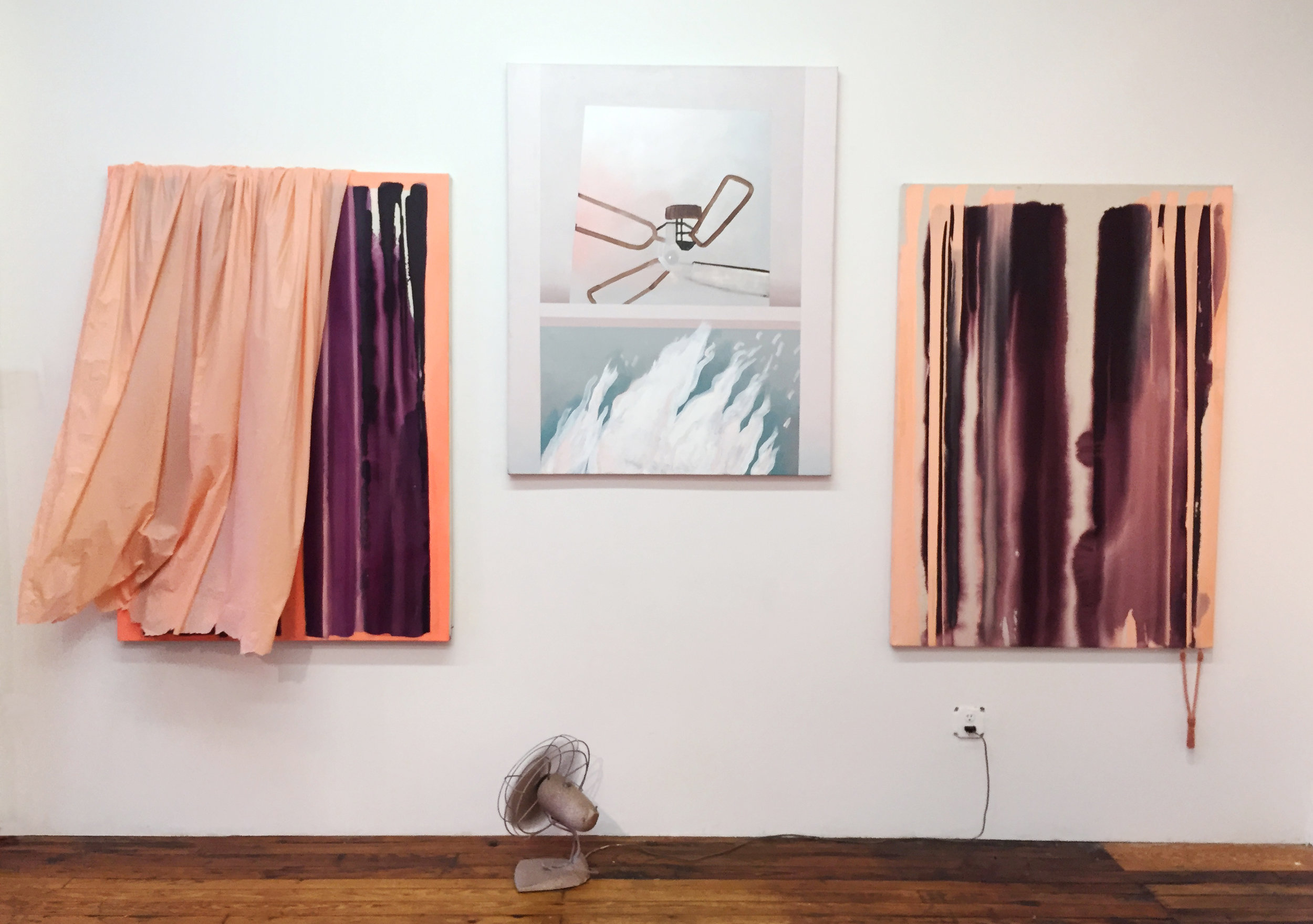 """Site-specific installation, """"Give the People What they Want (Spooky Curtains)"""" at WOVEN, Wayfarers Gallery, Brooklyn."""