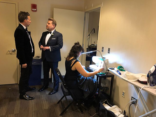 Behind the seams at the Grammys with 7B NYC tailor @jennybaroni!!! Seen here sewing back stage at Madison Square Garden!Janes styling by @mjonf #7thbonetailoring #daylightcompany #MSG #grammys2018