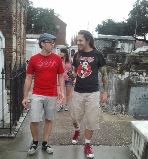 Recording with Julien in an above ground graveyard in New Orleans
