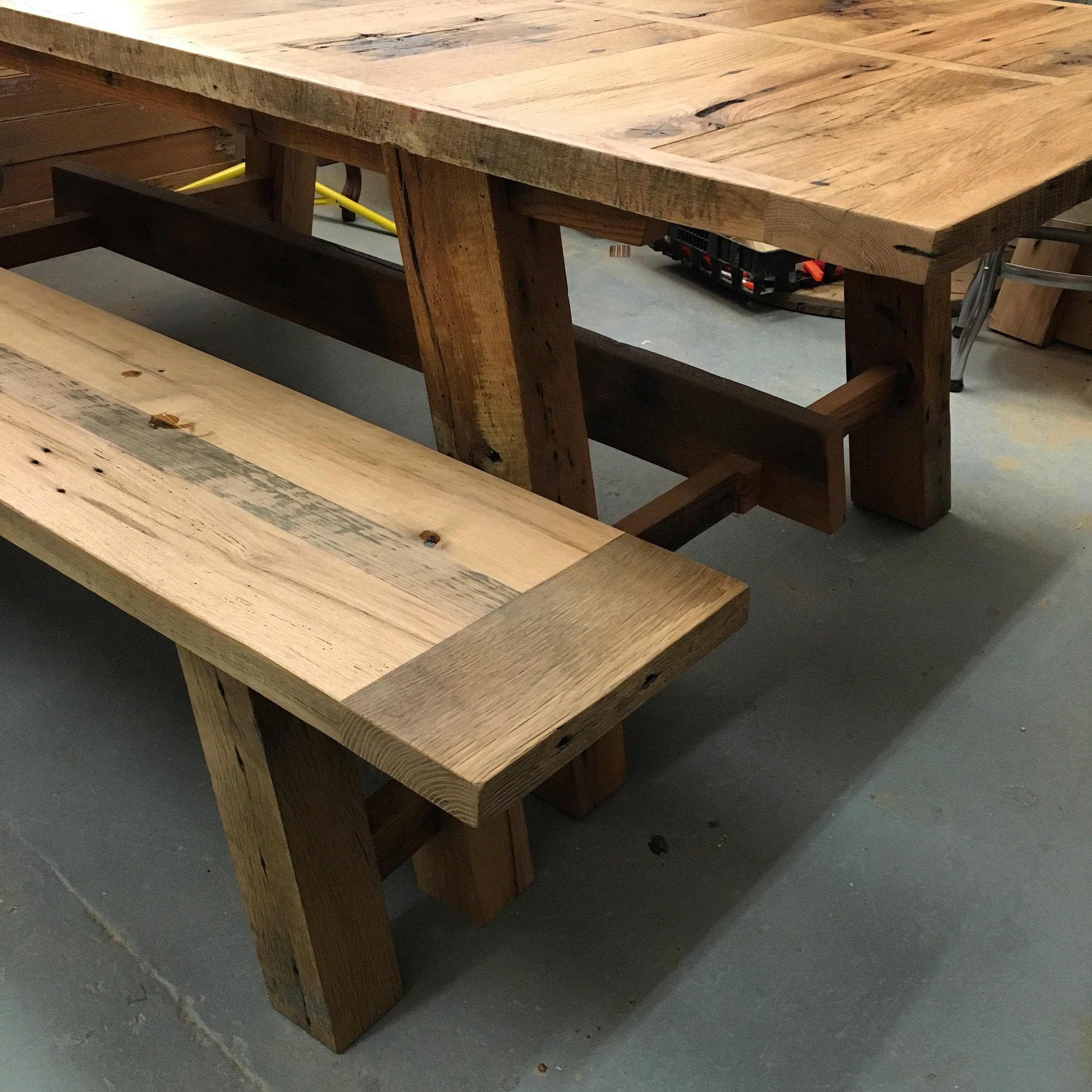 Reclaimed white oak table and bench