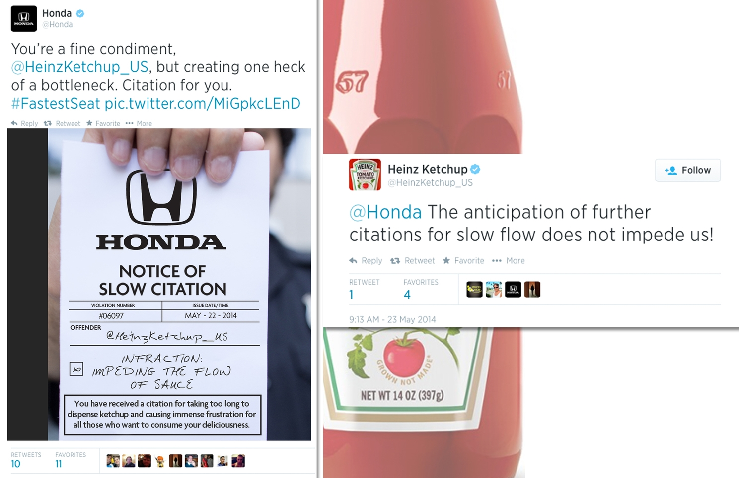 Twitter campaign sending Slow Citations to brands: Heinz Ketchup, Whole Foods, Starbucks to name a few.