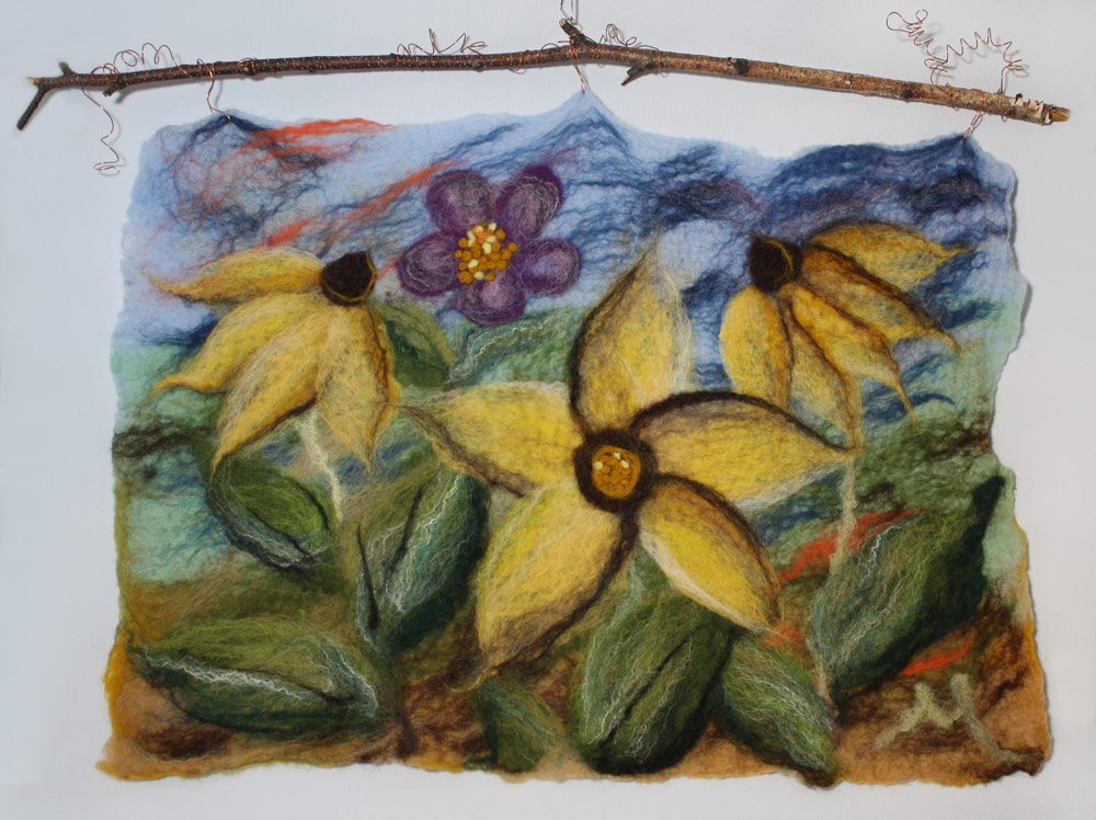 "Rudbeckia Daisies   Colourful and lively, hung on birch branch with copper wire embellishments (or can be framed conventionally, under glass). 27""w x 20""h including branch.  $255.  To purchase please click please   contact me."