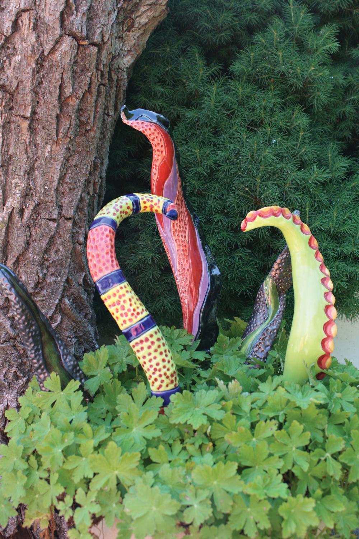 Dragon Tails, ceramic garden art sculpture by www.MonikaSchaefer.com