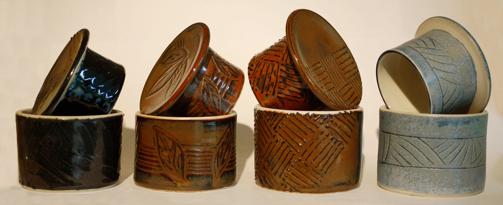 Carved French Butter dishes, ingenius idea for keeping butter fresh and spreadable, pottery by www.MonikaSchaefer.com