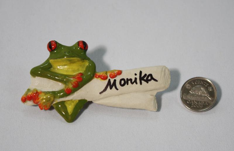 Tree frog name badge, pottery by www.monikaschaefer.com