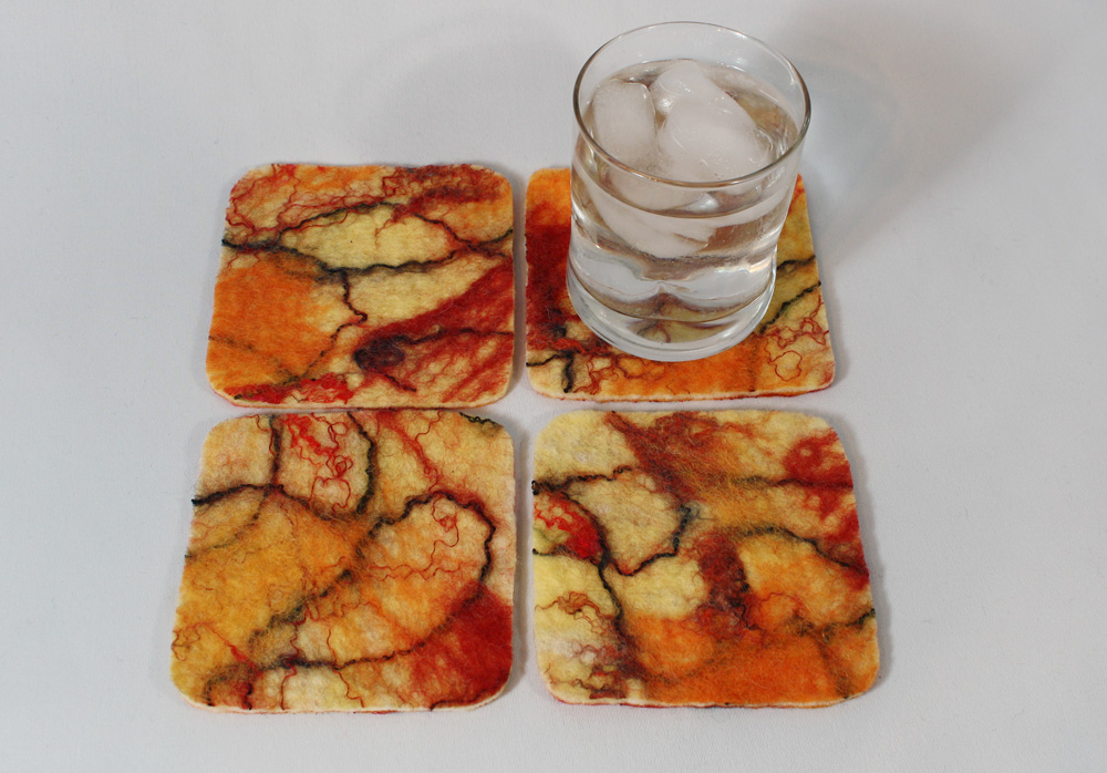 Hot Summer Red and Yellow wet-felted coasters.  SOLD