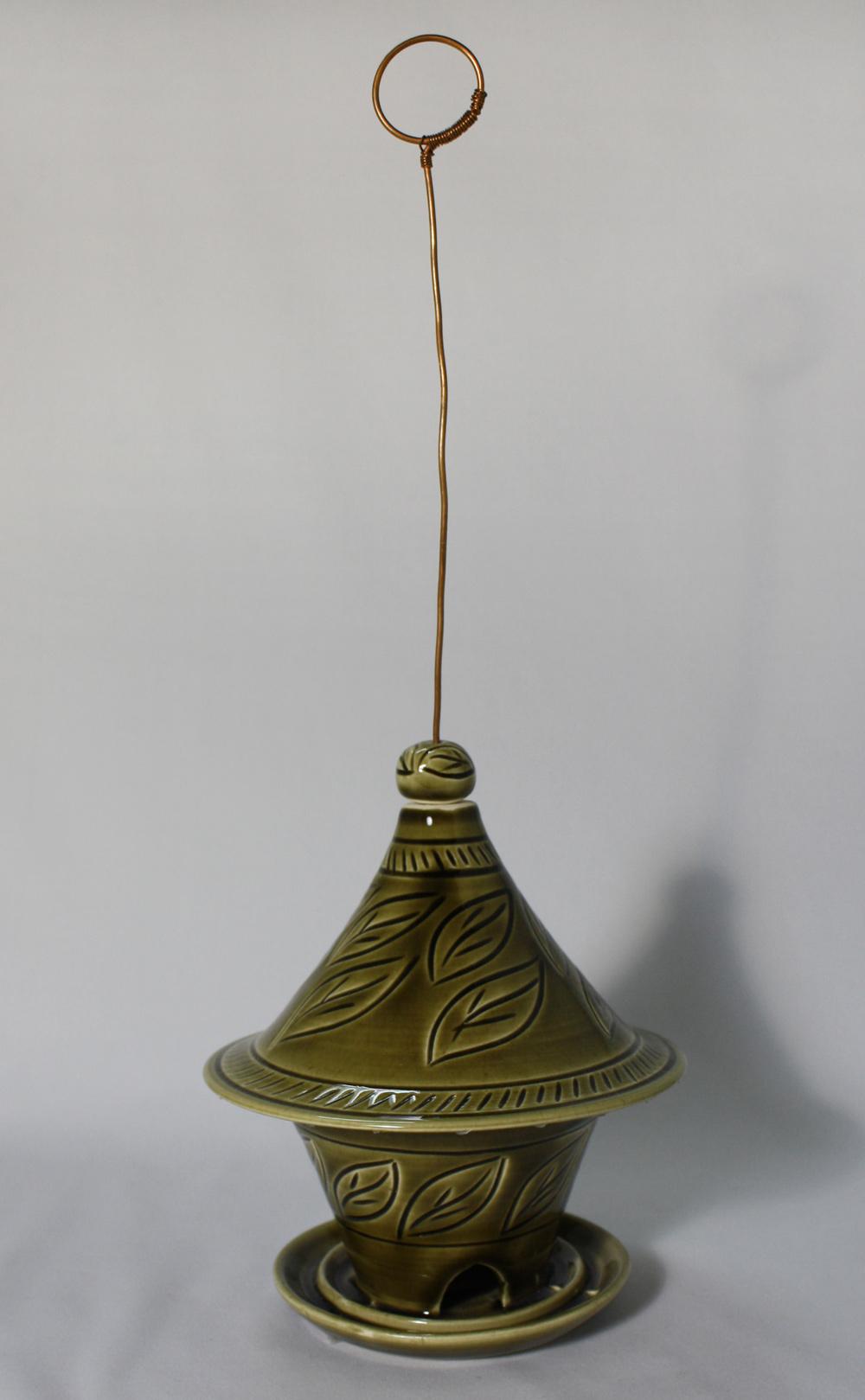 Olive green Bird feeder, SOLD  .