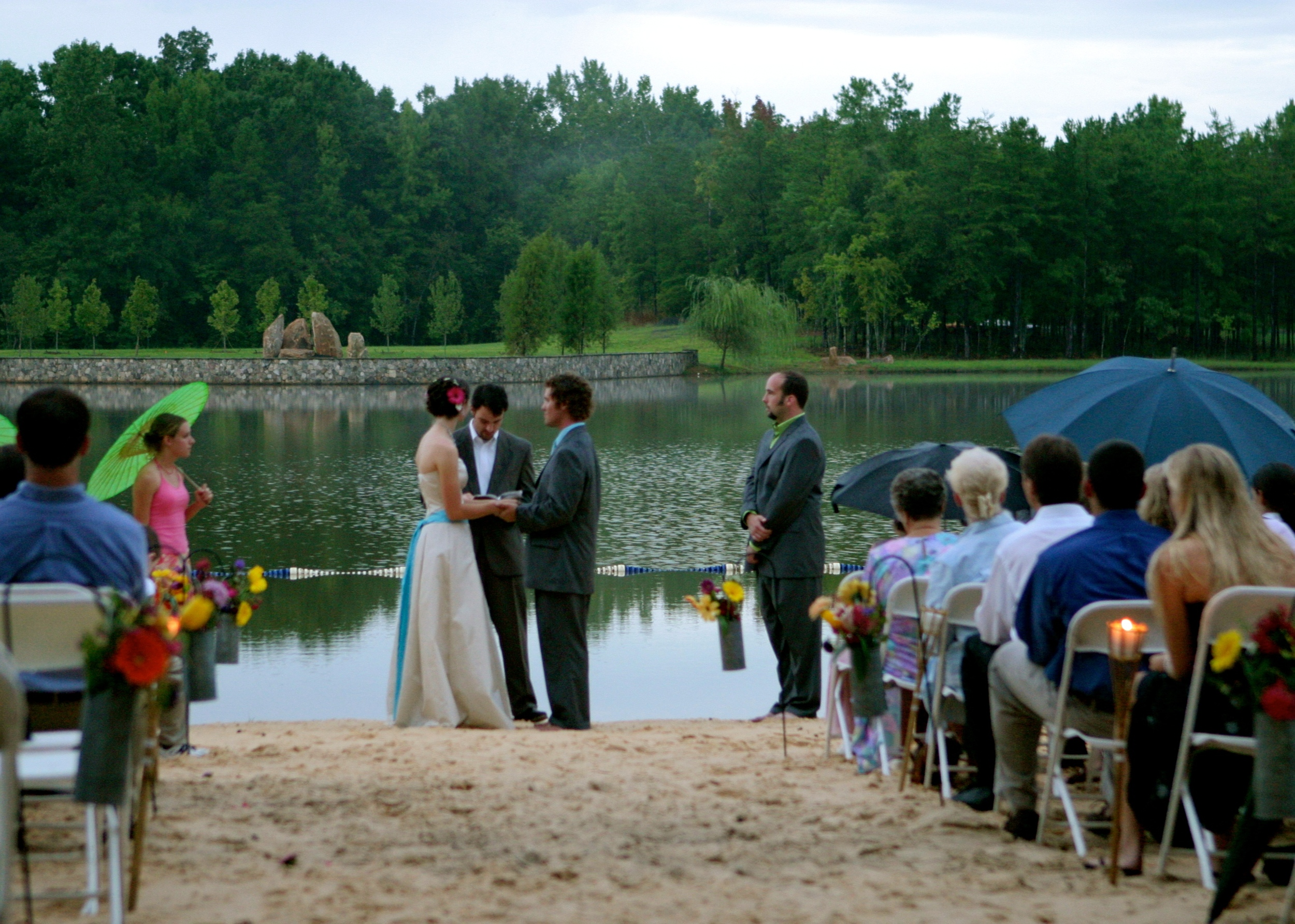 Getting married by the lake at camp.