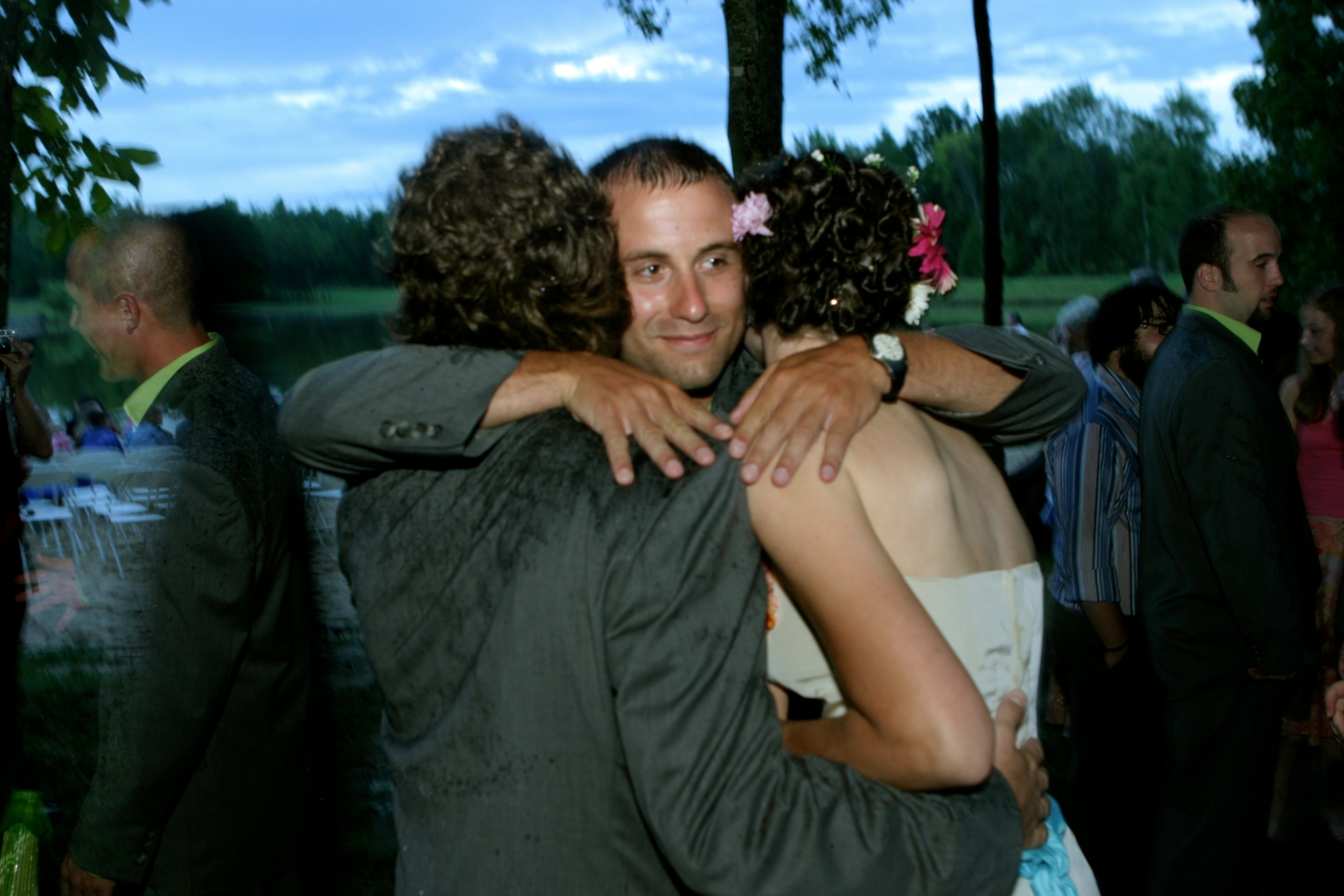 With Chris Bristow after the wedding... note how wet John is :)