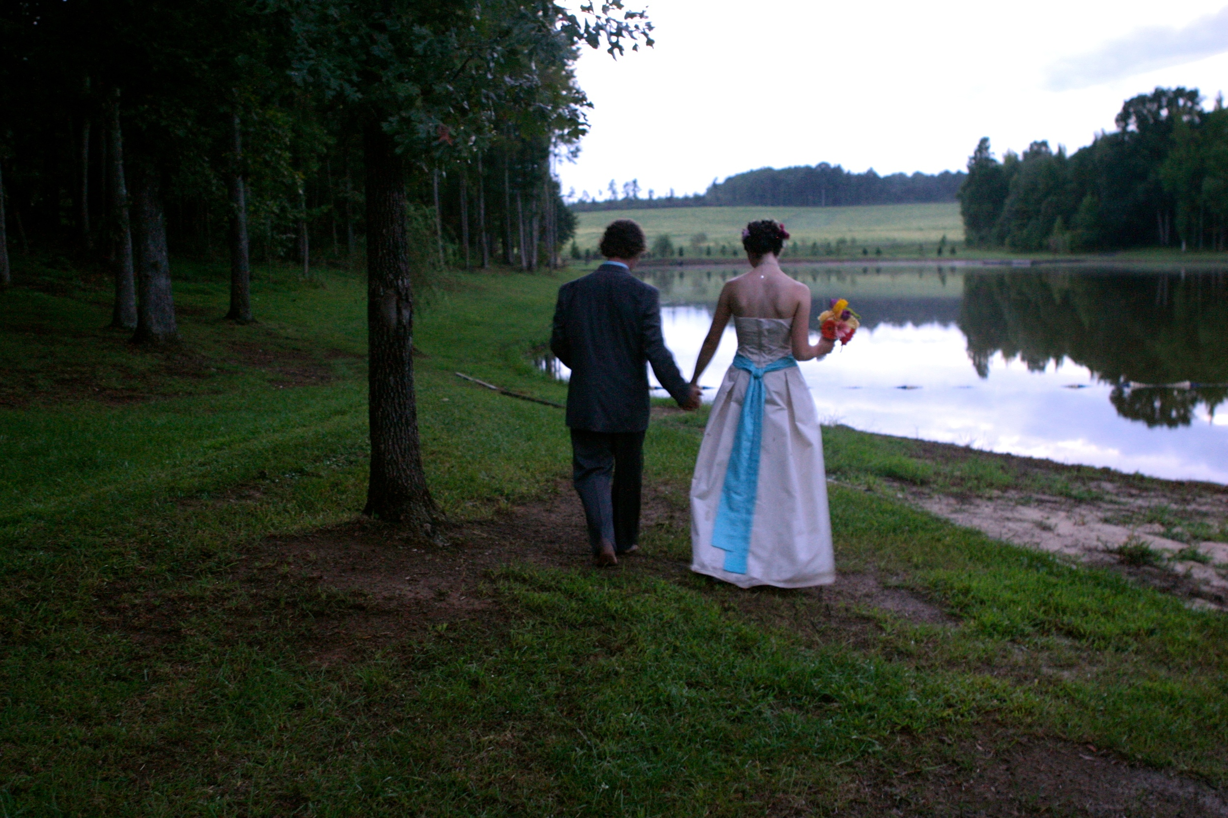it stopped raining when i started to walk down the aisle.