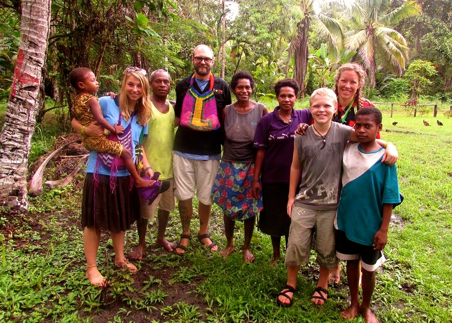 James, Stephanie, Gabriele, and Ethan with their Wasfamili (watch family) in the village.