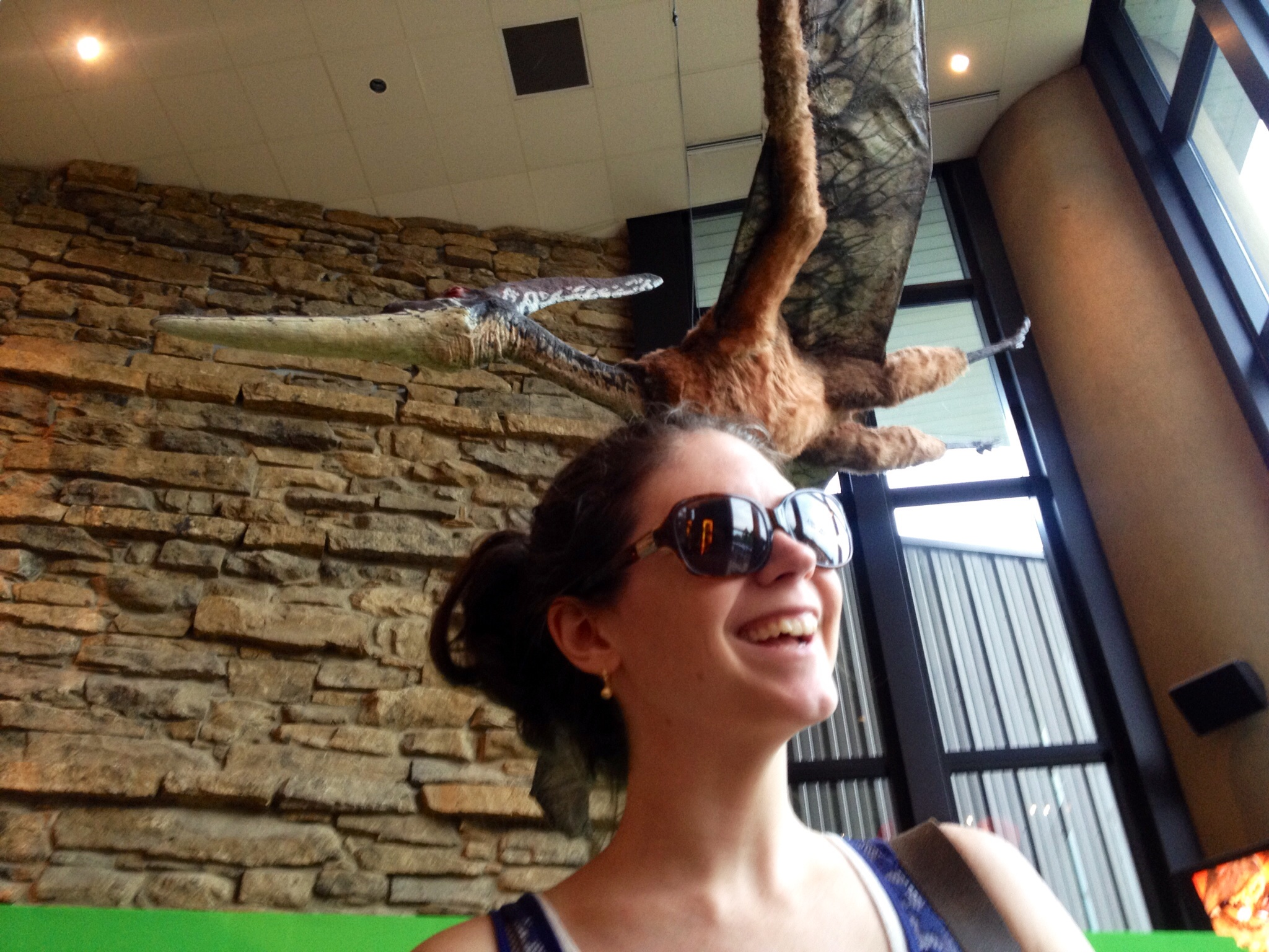 Kristi joyfully strolling along, unaware that a pterodactyl is eyeing her for a snack.