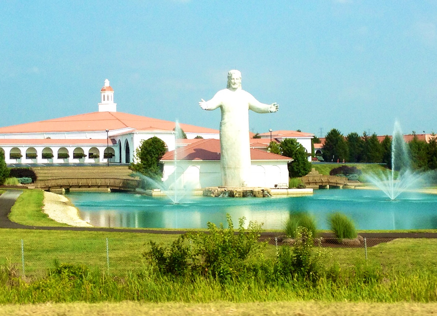 This giant 50 ft. Jesus blesses I-75 near between Cincinnati and Dayton. Apparently, it replaced an even bigger Jesus that got struck by lightning (am I the only one that thinks that's strange?).