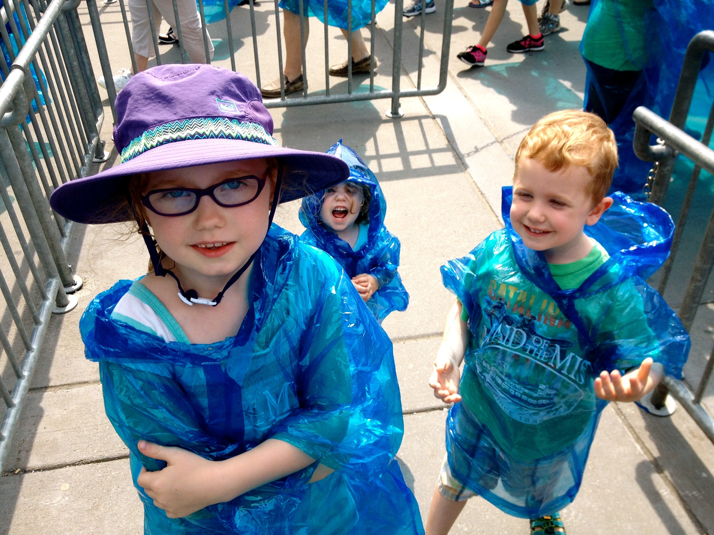 From Ohio we were driving to Boston, so to break the drive up we stopped in at Niagara Falls. Here the kiddos are waiting in line to board the Maid of the Mist.
