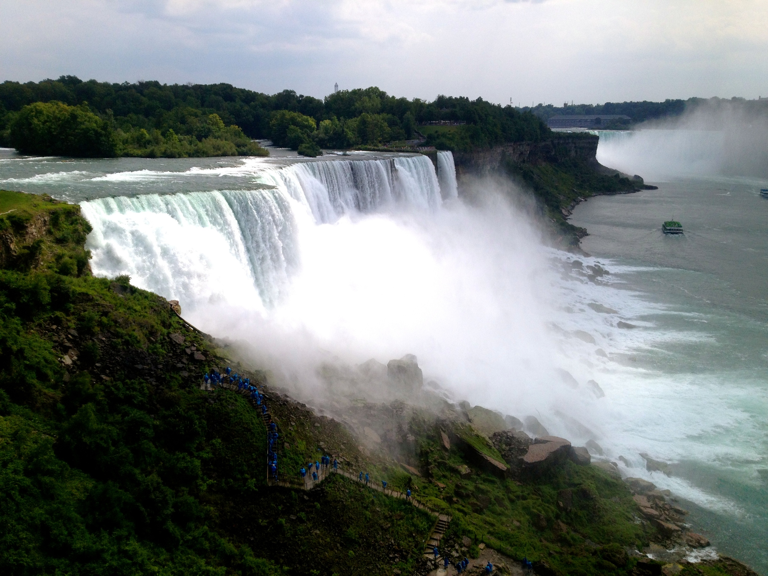Here is a view of some of the falls... just to give you an idea of how big it really is, see those blue dots in the bottom left of the photo? Those are people.
