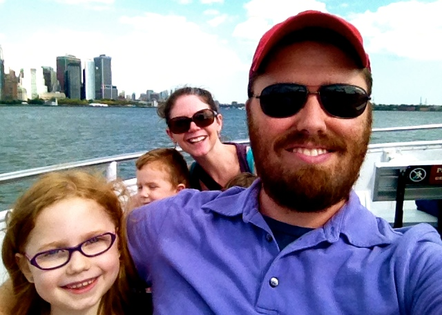 On the boat ride out to Liberty Island.