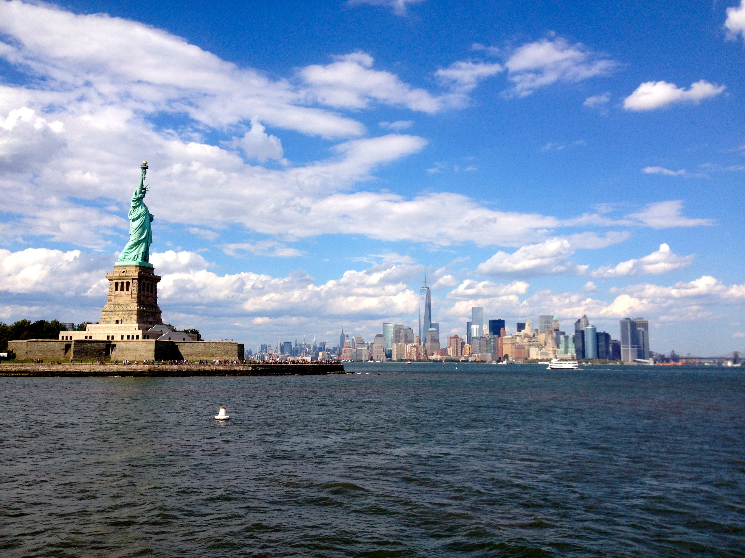 """Lady Liberty watching over New York City.... In the words of our son, """" Look at her, look at her! She is BEAUTIFUL!!!!!!"""""""
