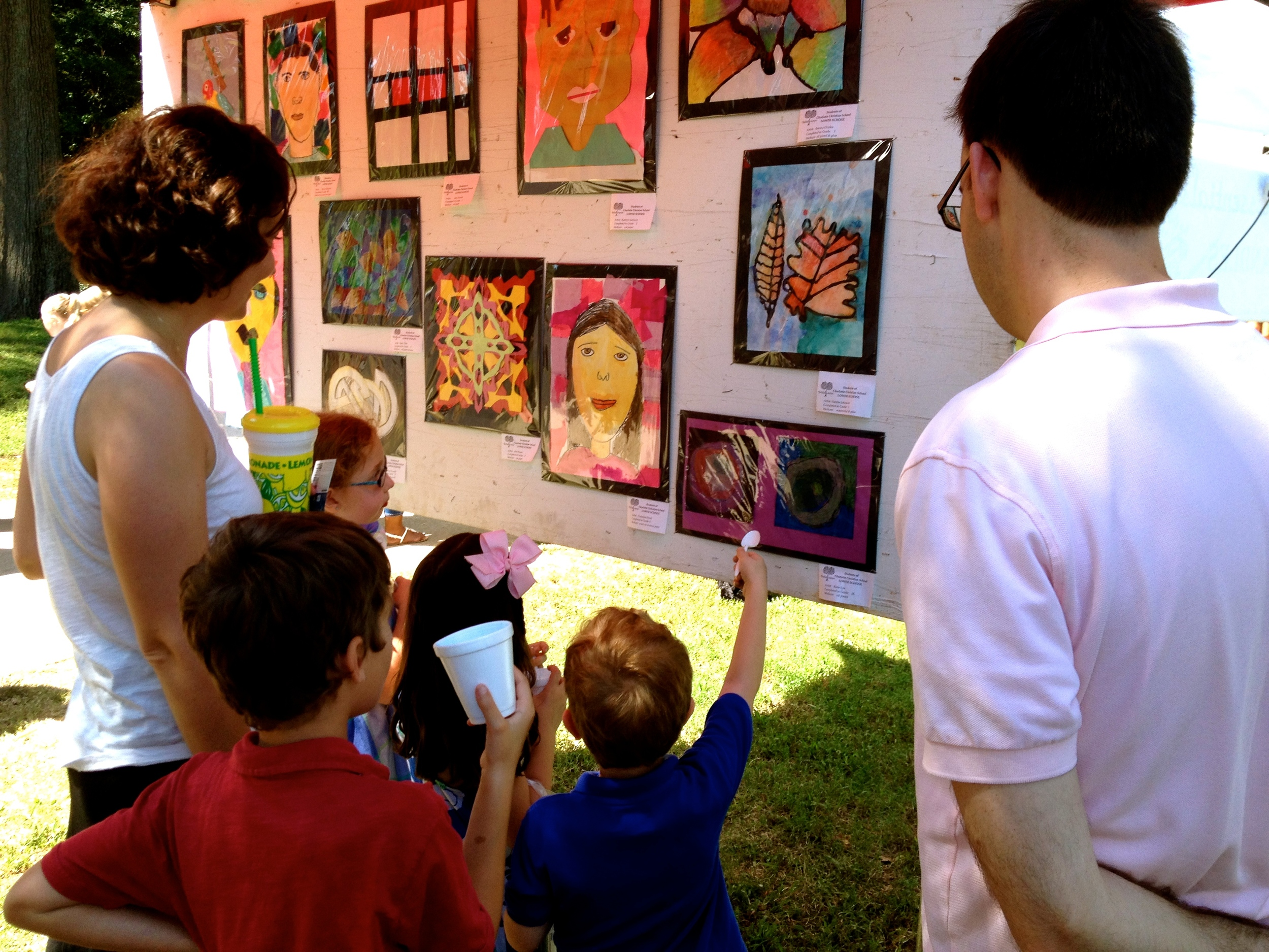 With the Lyes, checking out our friend Katie's art work