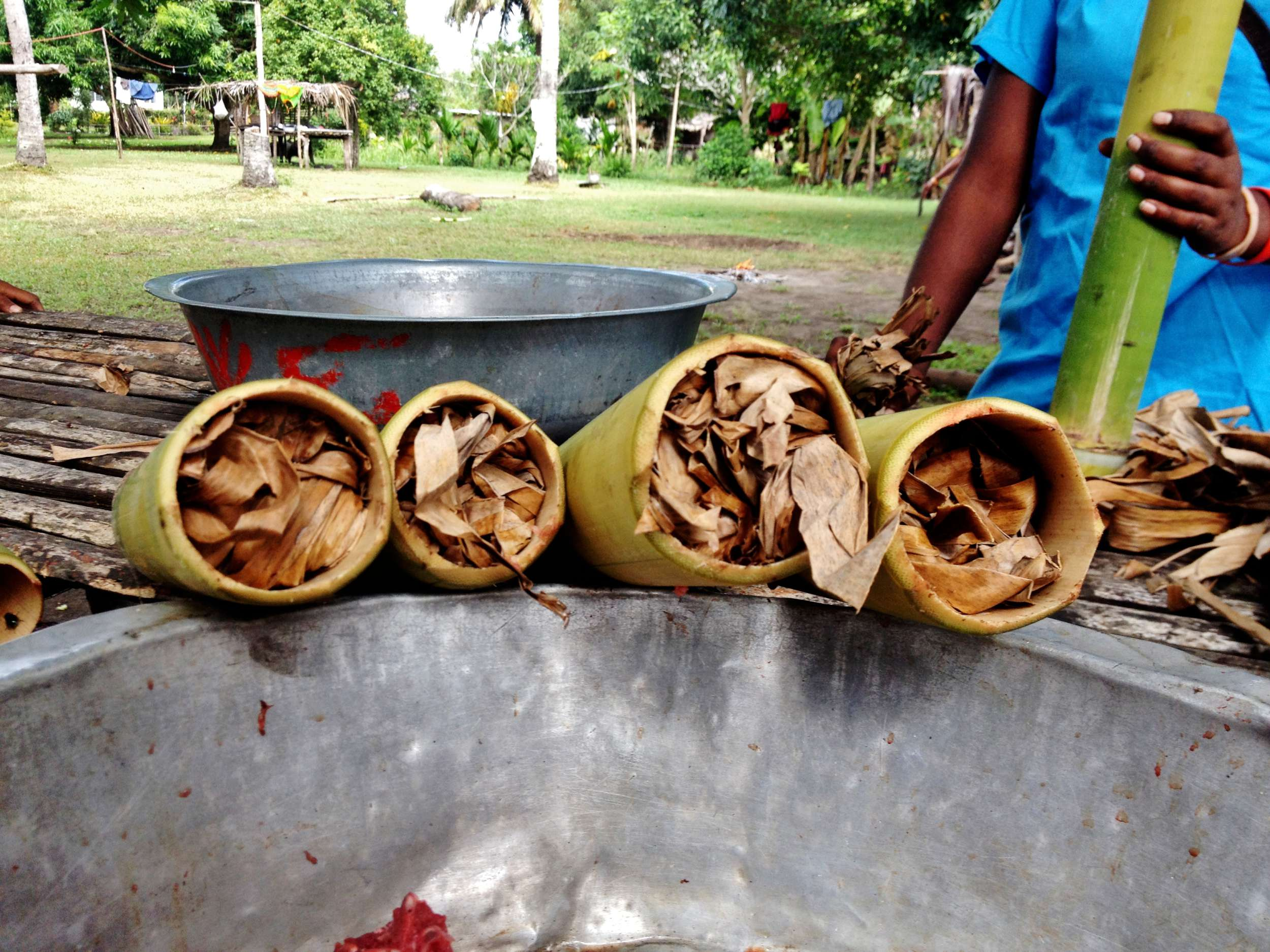 The ends were stuffed tight with banana leaves.