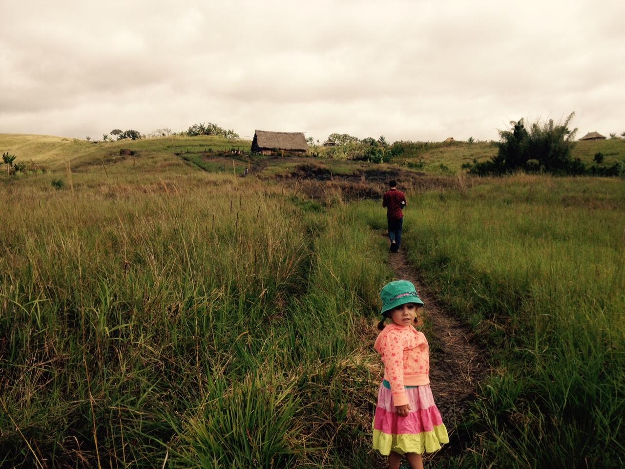 Millie walking to church at Kwina