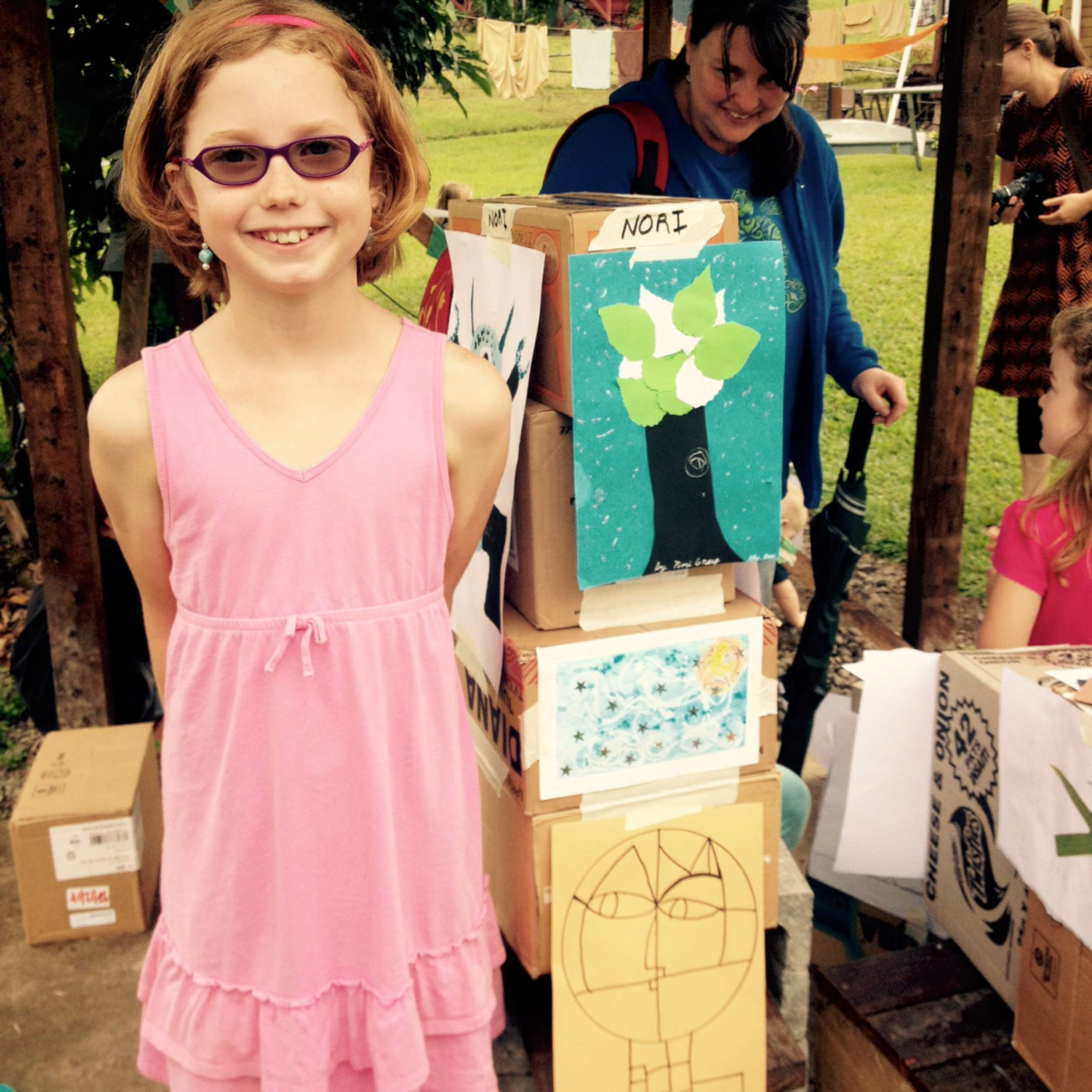 Nori delivers a stellar art show exhibition after her week long art camp with Terry Lofgren.