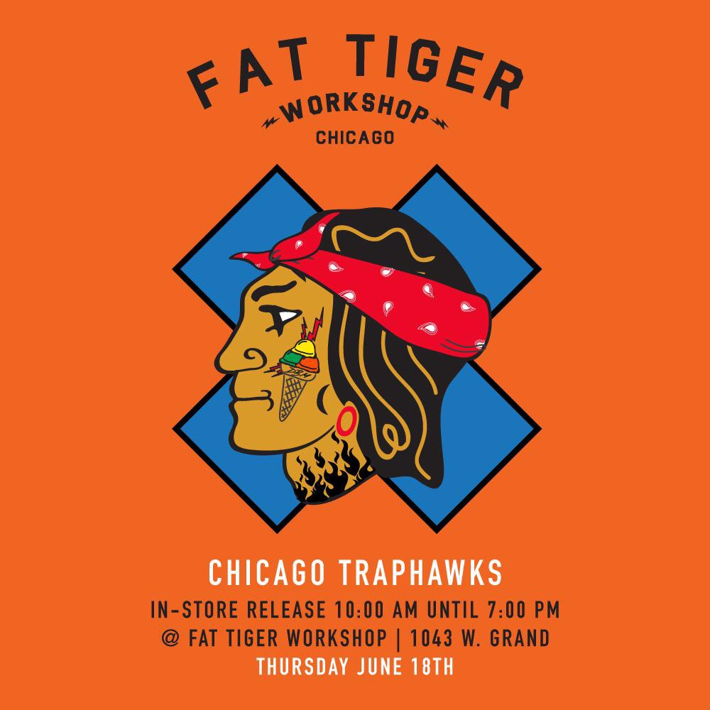 In honor of the home team, we'll be having an in-store release of the Chicago Traphawks t-shirt. We'll be at the shop tomorrow as early as 9am setting up. Doors open at 10. We're super excited for the Blackhawks, great win for the city.